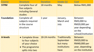 A side by side comparisons of pre-university courses available for school leavers
